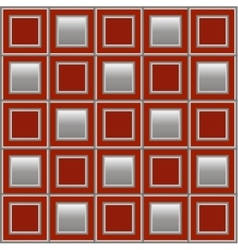 Geometric background with red and silver squares vector