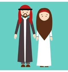 Couple man woman wearing arab arabic traditional vector