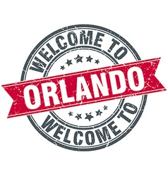 Welcome to orlando red round vintage stamp vector