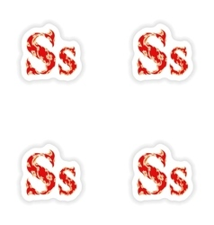 Assembly stickers fiery font red letter s on white vector