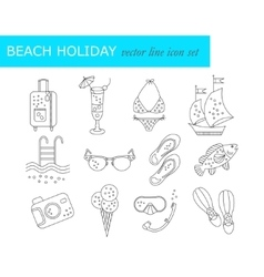 Beach holiday line icons vector