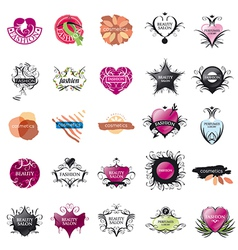 biggest collection of logos Fashion and Beauty vector image vector image