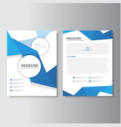 Blue annual report brochure flyer leaflet design vector image
