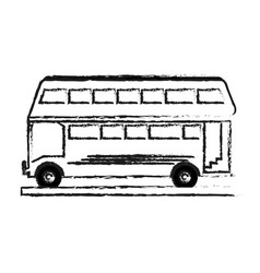 Blurred silhouette two floor bus transport vector