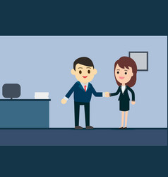 Business man and business woman shaking hands in vector