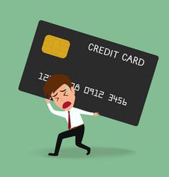 Businessman bearing credit card debt concept vector