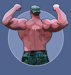 Cartoon huge man standing from the back in a vector