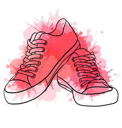 Contour of sneakers with watercolo vector