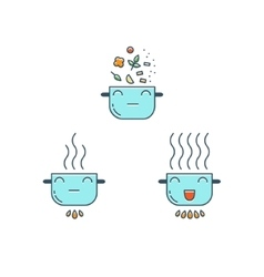 Cooking thin line icons set Cute Pot icon vector image