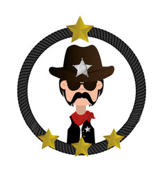 Cowboy character wild west icon vector