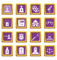 Crime and punishment icons set purple vector