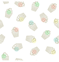 cupcake seamless pattern hand drawn golden vector image vector image