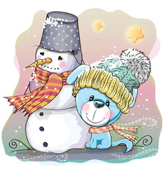 Cute puppy and snowman vector