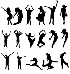 dance many people silhouette illustration vector image