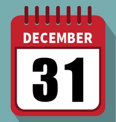 December 31 calendar in flat design vector