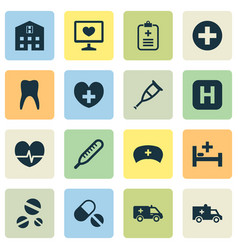 drug icons set collection of cure first-aid vector image vector image