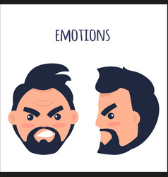 emotions angry man face isolated vector image vector image