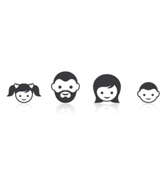 Family members face icons vector image vector image