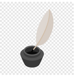 Feather and ink bottle isometric icon vector