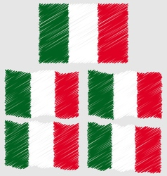 Flat and waving hand draw sketch flag of italy vector