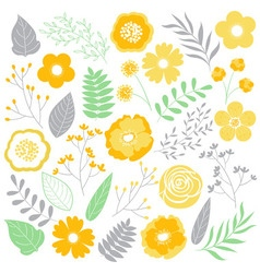 Floral Yellow Set vector image vector image