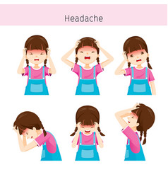 Girl with different headache actions vector