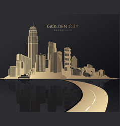 Golden cityscape with skyscrapers vector
