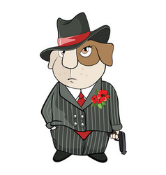 Guinea pig gangster cartoon vector