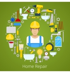 Home House Repair with Repairs Tools vector image vector image