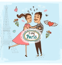I Love Paris hand-drawn vector image