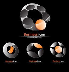 Orange gray business icon set vector image