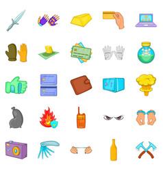 Oversight icons set cartoon style vector