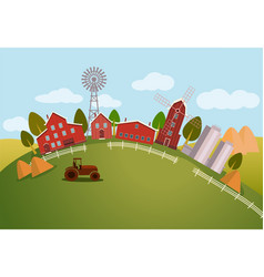 panorama or scenic view on farm tractor vector image vector image