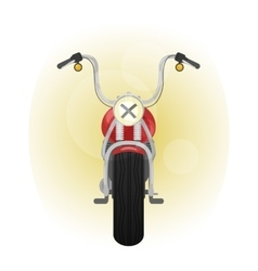 Red old styled motorcycle front view vector