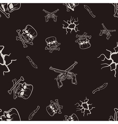 Seamless texture of sketches of skulls and pistols vector