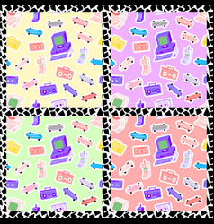 set of patterns in the style of the 80s 90s vector image