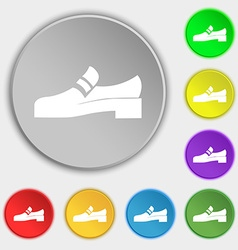 Shoe icon sign Symbol on eight flat buttons vector image