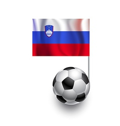 Soccer balls or footballs with flag of slovenia vector