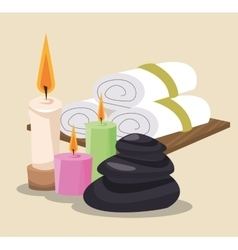 Spa stones colored candles and towel vector