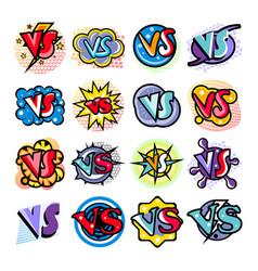 versus comic speech bubble cartoon set vector image vector image