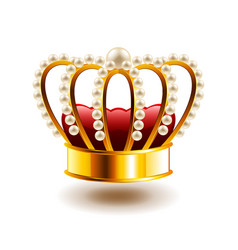 Crown with white pearls isolated on white vector