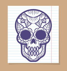 decorative human skull with floral ornament vector image