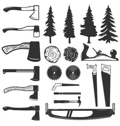 Set of carpenter tools wood and trees icons vector
