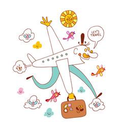 Lets travel fun airplane cartoon vector