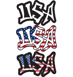 Usa word graffiti style vector