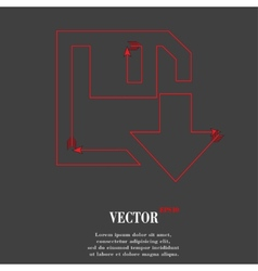 Floppy disk download flat modern web button and vector