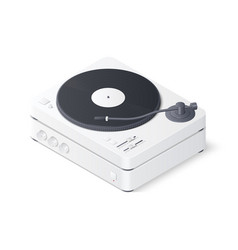 3d realistic turntable and amplifier isolated on vector
