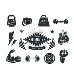 Retro fitness elements vector