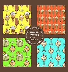 Sketch set with ice cream patterns vector
