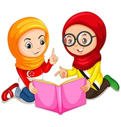 Muslim girls reading a book vector image
